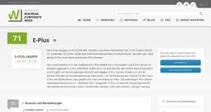 Die Profil-Seite der E-Plus Gruppe im Wikipedia Corporate Index