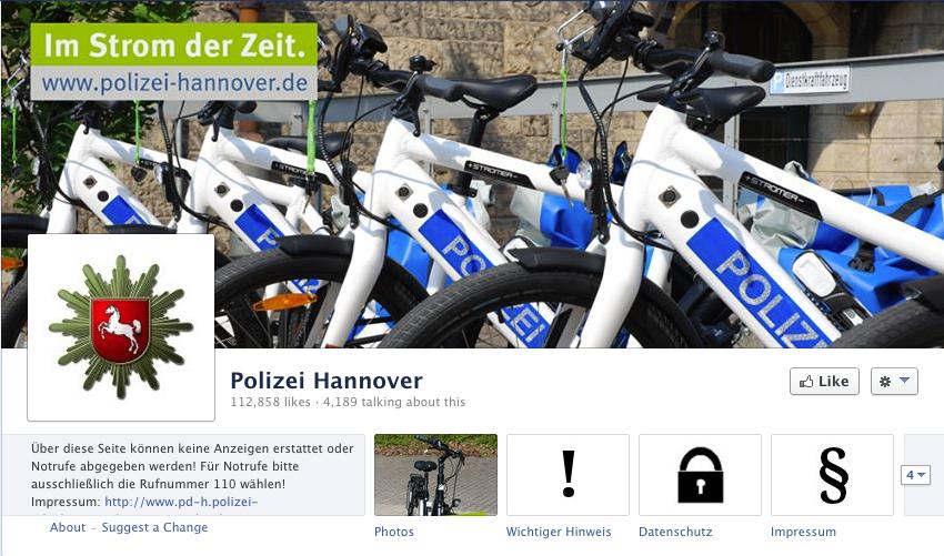 Die Polizei aus Hannover auf Facebook