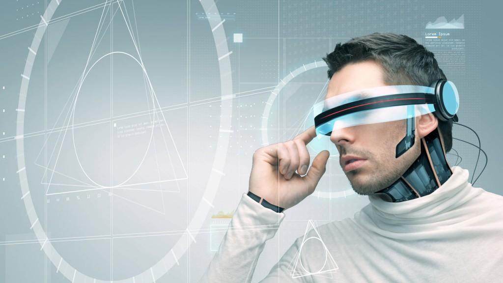 Mann Datenbrille futuristisch