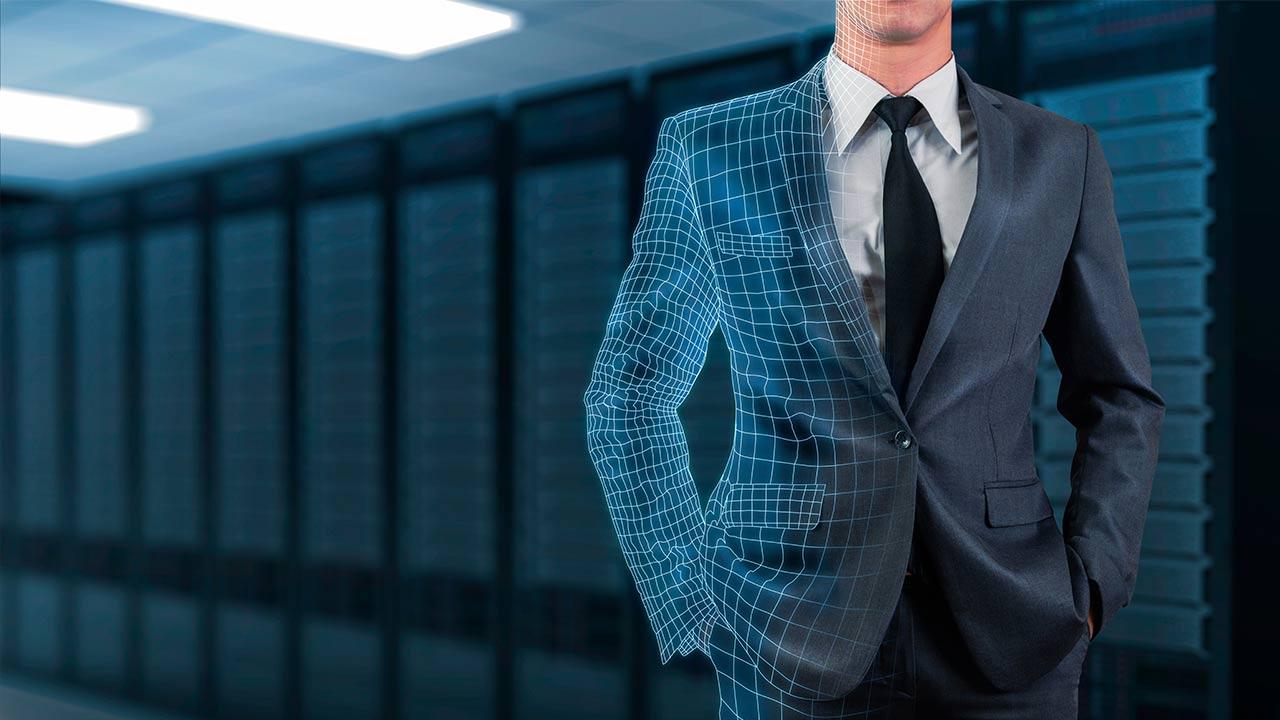 Anzug Mann Hologramm shutterstock