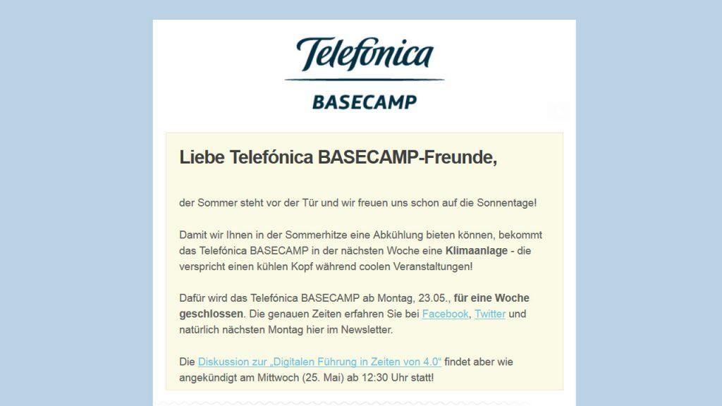 Basecamp Newsletter 20160517 - Begrüßung