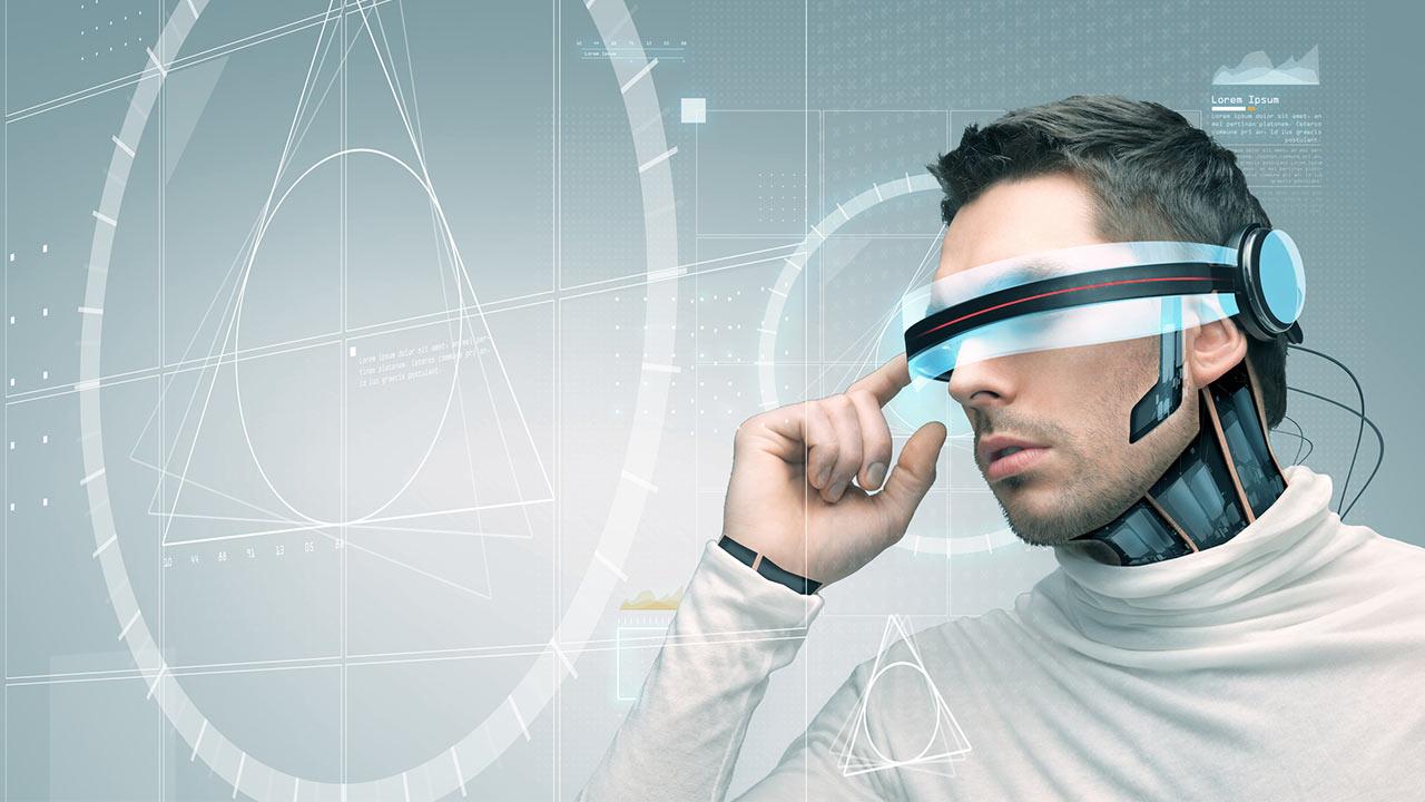 Mann Datenbrille futuristisch Fotolia