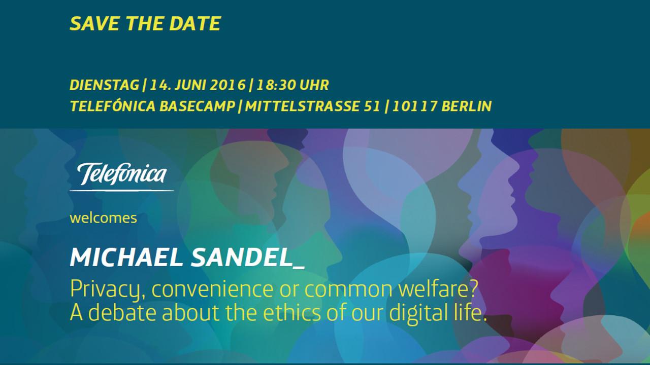 Save the Date für Michael Sandel im Telefónica BASECAMP