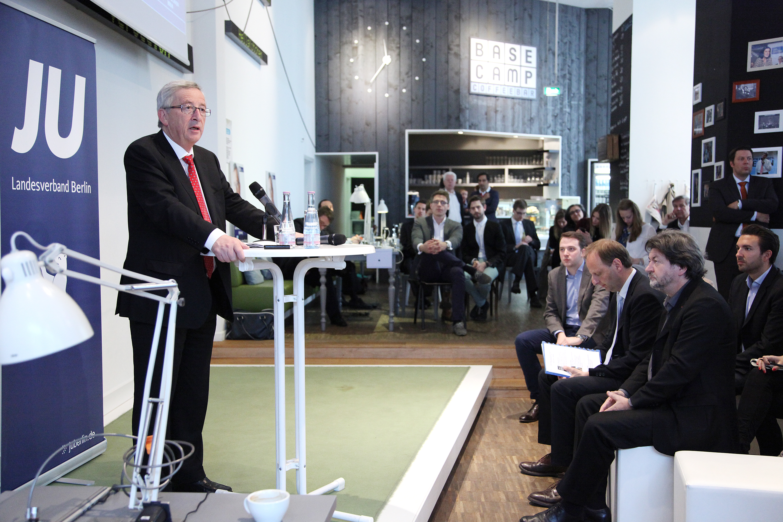 Jean-Claude Juncker im Rahmen des Europawahlkampfs 2014 zur Digitalpolitik  im Basecamp, Bild: Jördis Zähring