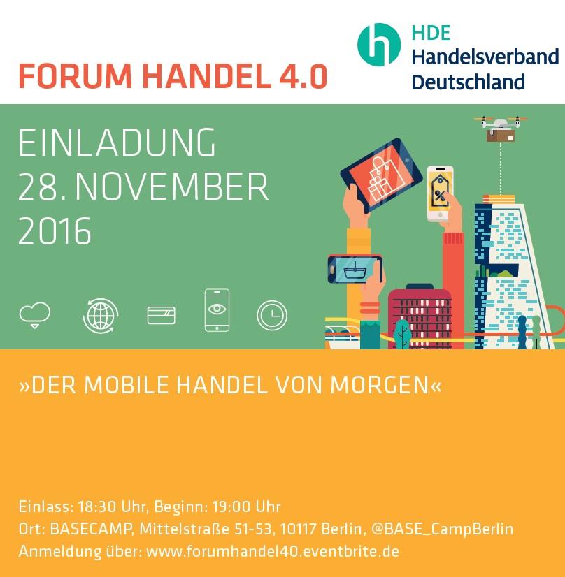 Forum Handel 4.0 am 28. November zum mobilen Handel von Morgen