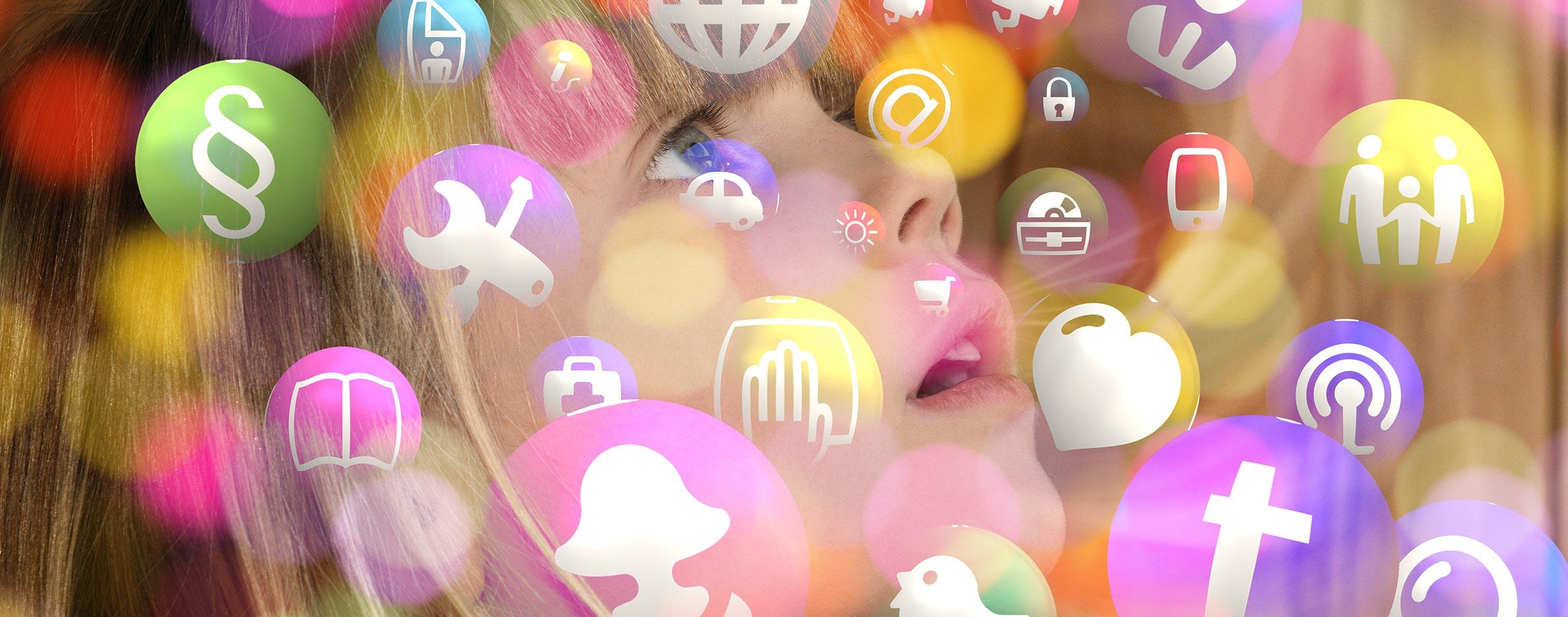 pixabay Maedchen Kind Gesicht Social Media Icons Digital