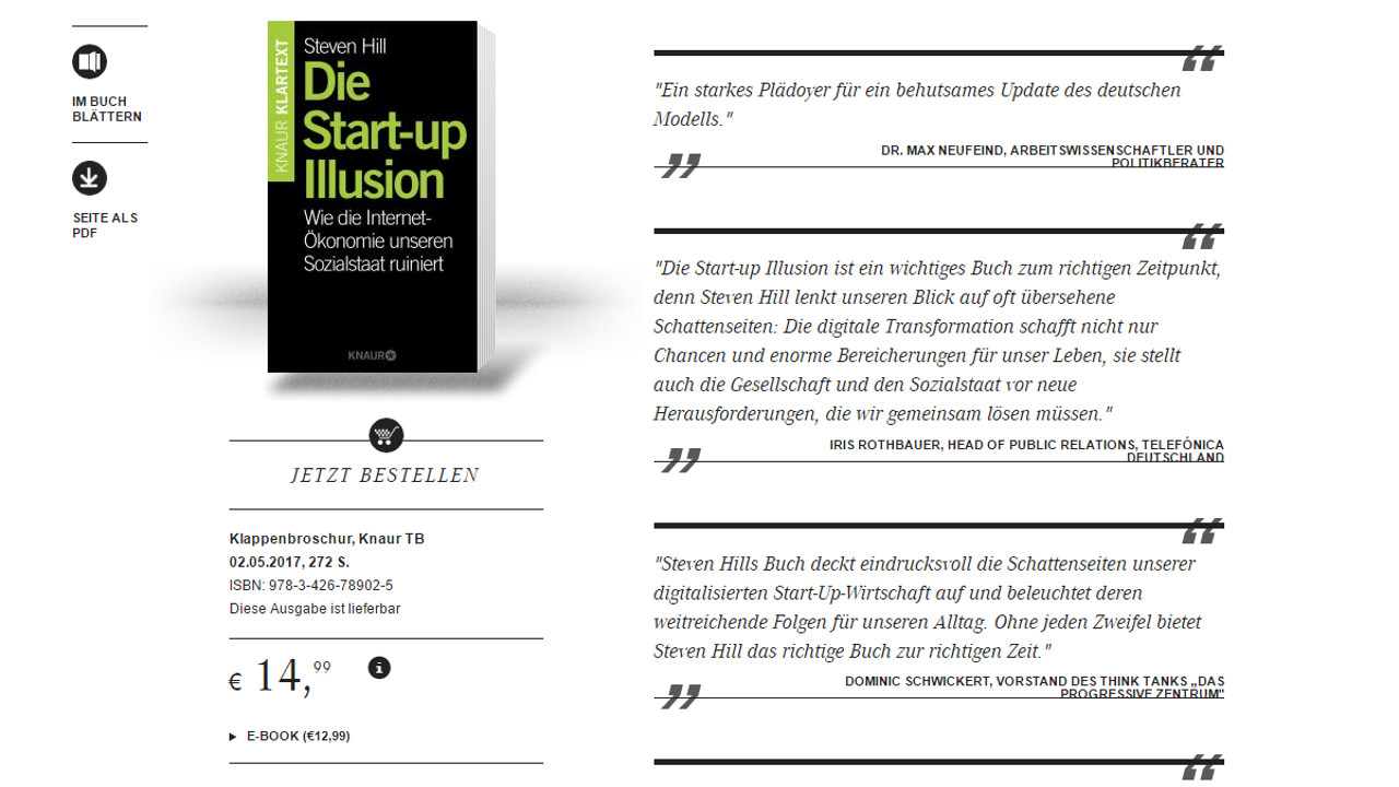 Die Startup-Illusion auf der Website des Droemer-Knaur-Verlages.
