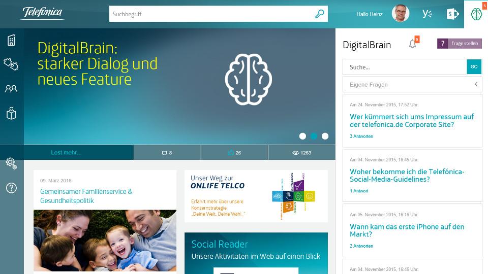 Intranet-Startseite mit Digital Brain.