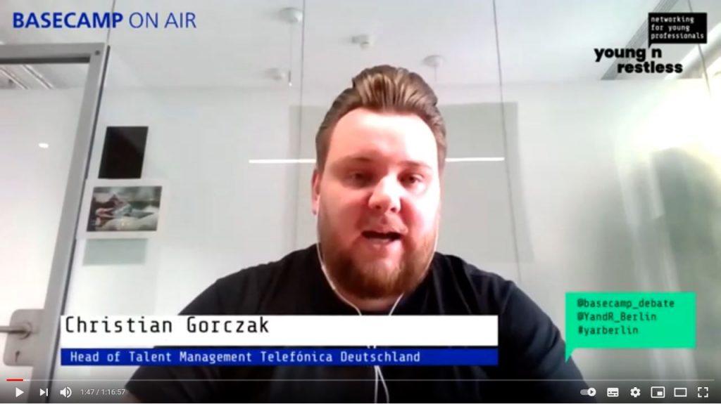 Screenshot der Veranstaltung: Christian Gorczak Head of Talent Management Telefónica Deutschland
