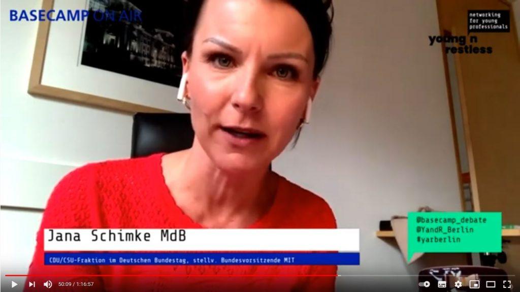 Screenshot der Veranstaltung: Jana Schimke MdB CDU/CSU-Fraktion im Deutschen Bundestag, Stellvertretende Vorsitzende MIT Mittelstands- und Wirtschaftsunion