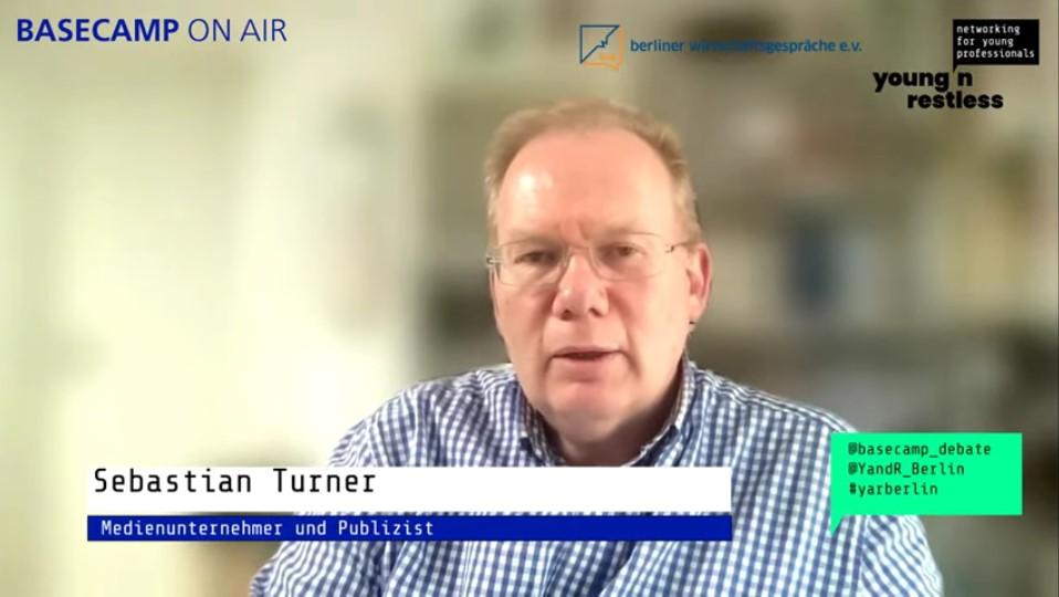 Screenshot der Veranstaltung: Sebastian Turner, Medienunternehmer und Publizist