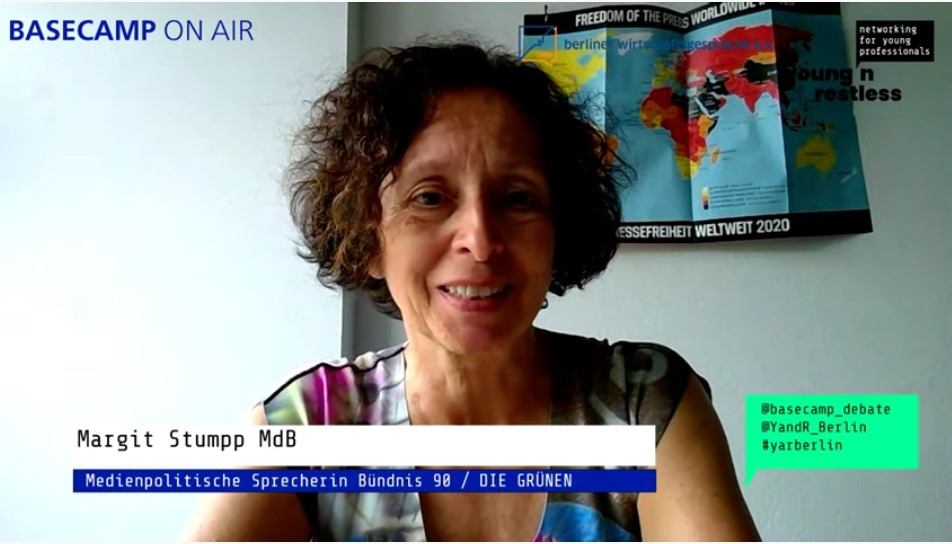 Screenshot der Veranstaltung: Margit Stumpp MdB, Politische Sprecherin für Medienpolitik, Bündnis 90 / DIE GRÜNEN